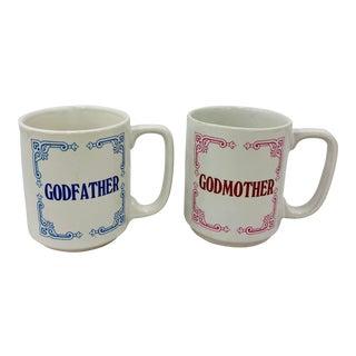 Pair Vintage God Parent Coffee Cups For Sale