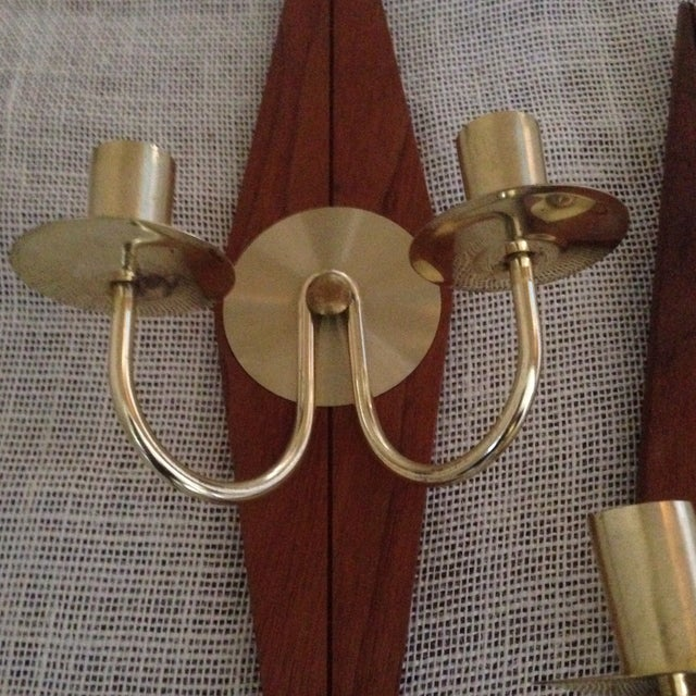 Mid-Century Wood & Metal Wall Sconces - A Pair - Image 4 of 11