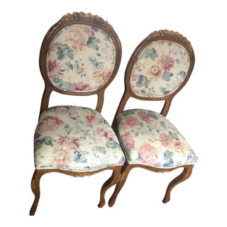Victorian Style Pair Carved Side Chairs- A Pair For Sale