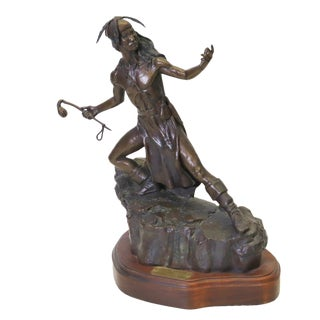 """Lg Artist Proof Native American Bronze Sculpture 16.75"""" H by 16"""" W For Sale"""