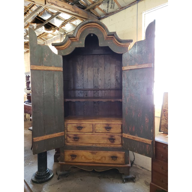 Rustic Hand Painted Arch Top Armoire For Sale - Image 11 of 13