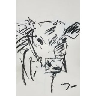 "Impressionist Jose Trujillo Original Charcoal on Paper Sketch Drawing of Cow - 11x17"" For Sale"