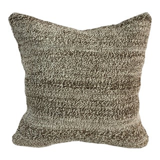 Brown and Antique White Decorative Turkish Anatolian Kilim Pillow Cover For Sale