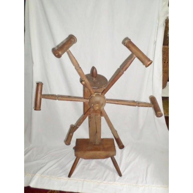 Antique Primitive Wooden Yarn Winder Spinning Wheel For Sale - Image 11 of 11