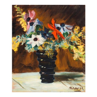 'Dahlias and Wildflowers' by Fletcher, 1958; Mid-Century Post-Impressionist Oil Still Life For Sale
