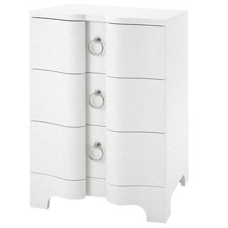 Bungalow 5 'Bardot' 3-Drawer Side Accent Table Nightstand in White Lacquer Grasscloth For Sale