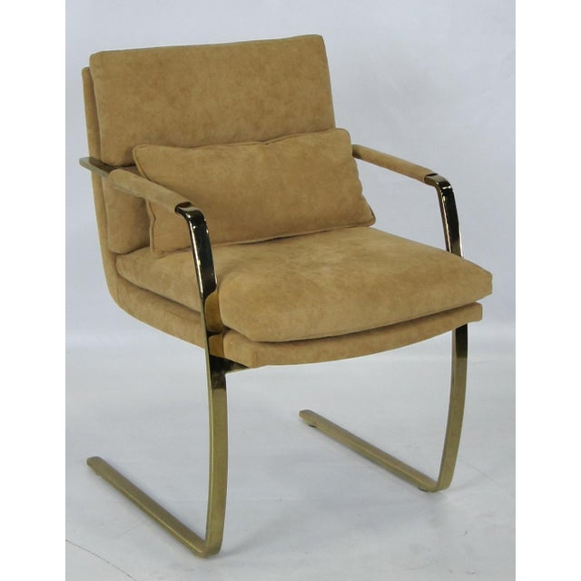 Set of Four Brass framed Armchairs with high end Ultrasuede upholstery by Pace.