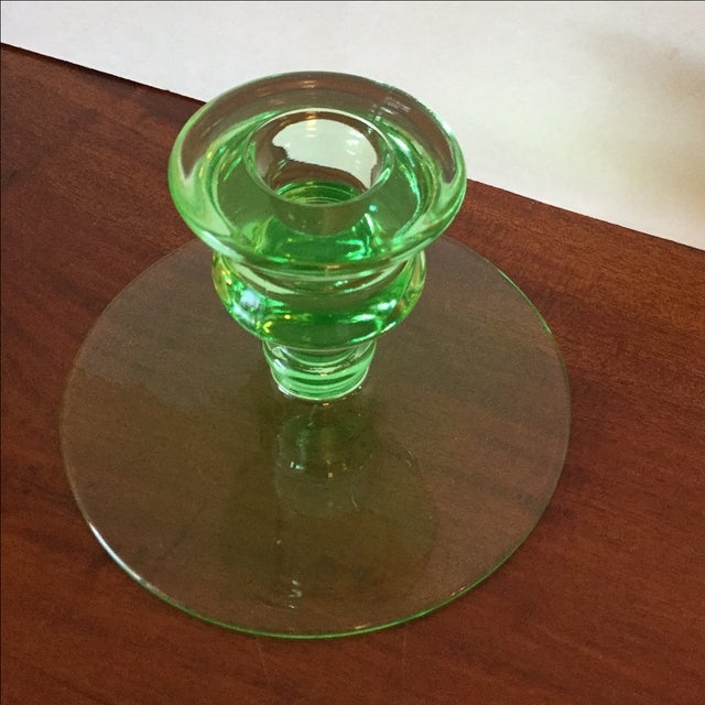 Art Deco Green Uranium Glass Candleholders For Sale - Image 7 of 9