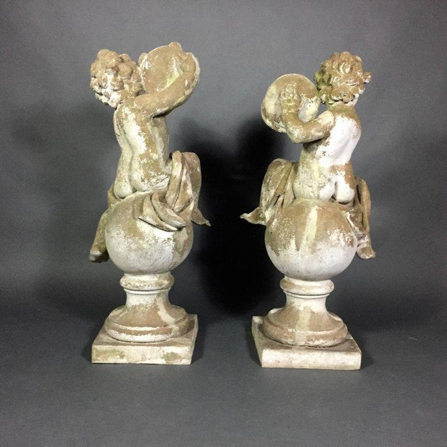 Pair of Puti Garden Statues, Composite Material, 20th Century For Sale - Image 4 of 11