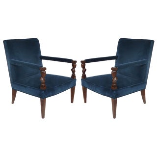 """John Hutton Donghia """"Rushmore"""" Newly Upholstered Armchairs , Pair For Sale"""