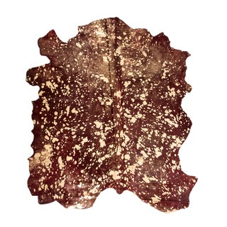 "Aydin Artisan Natural Cowhide | Gold Metallic | Made in Italy | 7'0"" X 8'0"" For Sale"