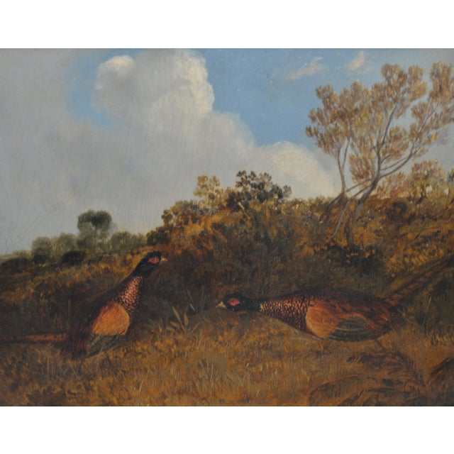 Pair of Early 20th C. Pheasant Hunt Oil Paintings For Sale - Image 4 of 11