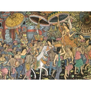 Late 20th Century Balinese Wedding Procession Painting For Sale