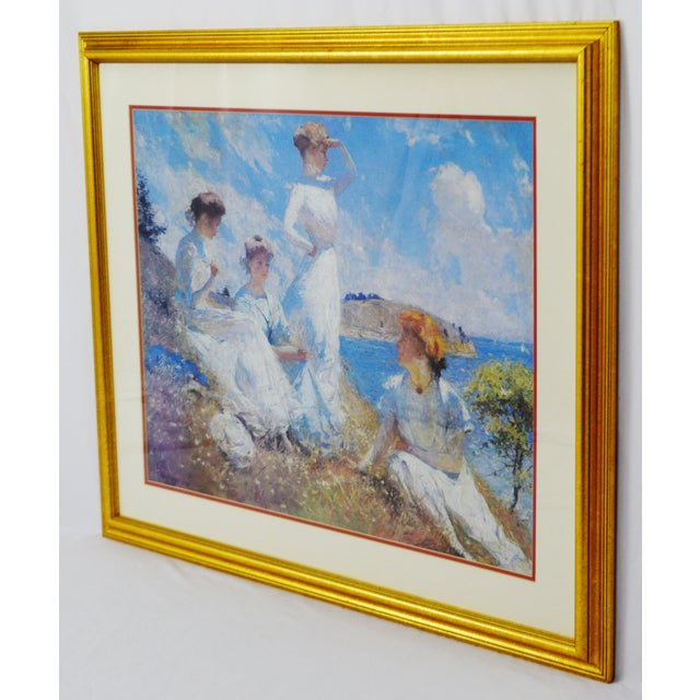 Vintage Framed Frank Weston Benson Summer Seascape Print For Sale In Philadelphia - Image 6 of 11