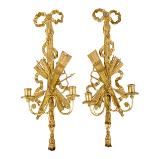 20th Century Neoclassical Gold Painted Sconces - a Pair For Sale