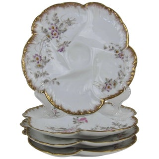 Antique Limoges Porcelain Oyster Plates by Cfh / Gdm, 1880s For Sale