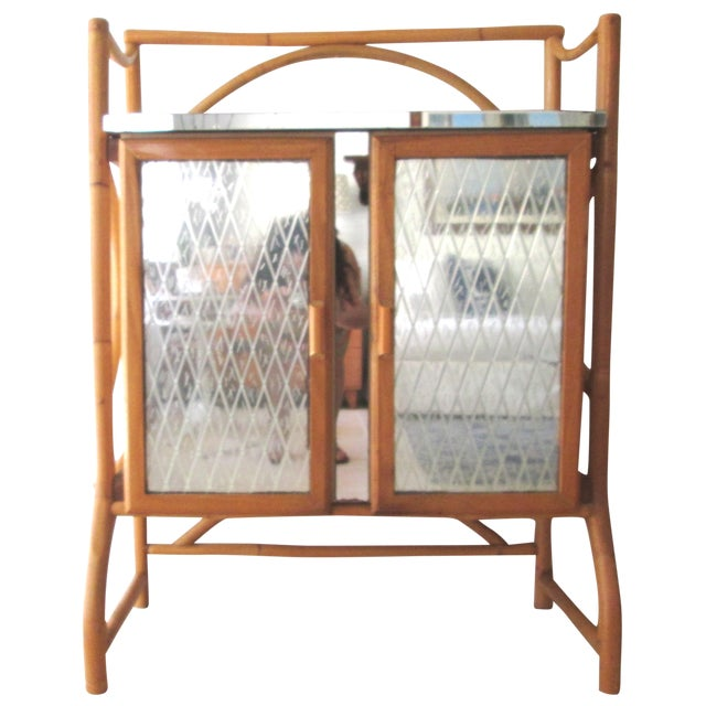 Mid Century Bamboo Mirrored Bar Cabinet - Image 1 of 11