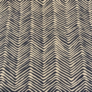 "Quadrille / China Seas ""Petite Zig Zag"" Navy on Tint Fabric For Sale"
