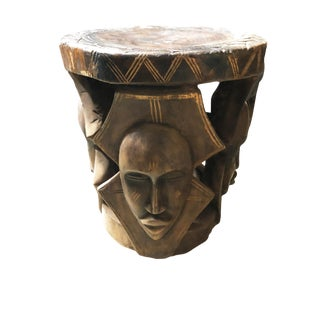 "Lg African Carved Wood Baga Stool Guinea 19"" H by 18.5"" W For Sale"