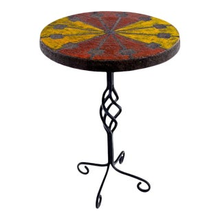 Italian Modern Wrought Iron and Ceramic Side Table by Raymor & Bitossi For Sale