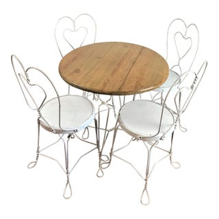Vintage Mid-Century Modern Sweetheart Cafe French Bistro/Ice Cream Parlor Set - 5 Pieces For Sale