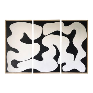 Spiral Script Black & White Abstract Acrylic Painting Triptych - Set of 3 For Sale