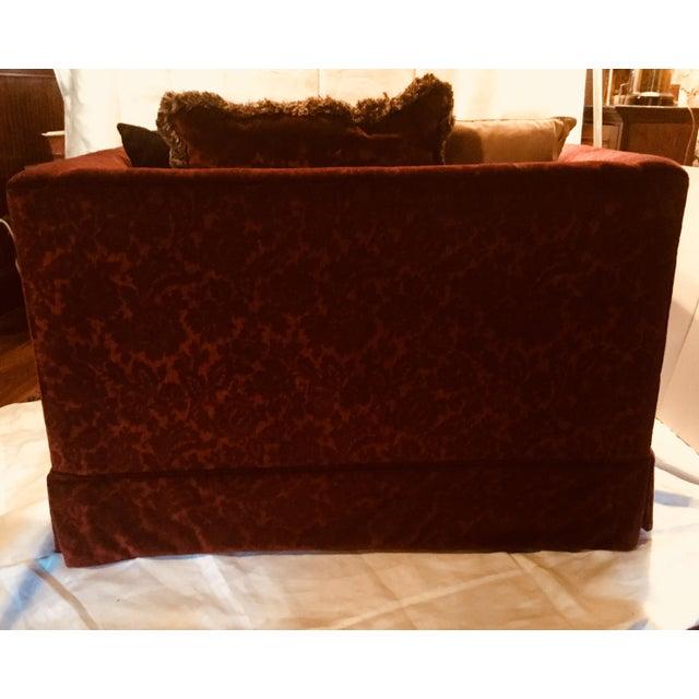 Bordeaux Cotton Velvet Damask Chair & a Half For Sale - Image 4 of 10