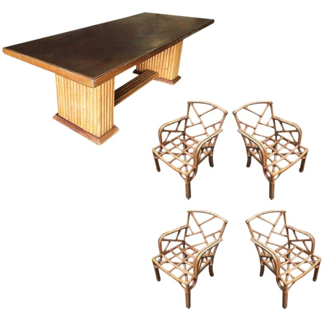 Restored Rare Paul Frankl Dining Room Table and Chairs Set For Sale