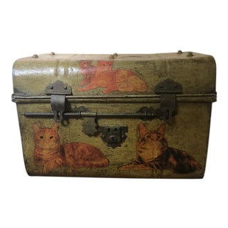 Early 20th Century Antique Metal Decoupage Cat Trunk For Sale