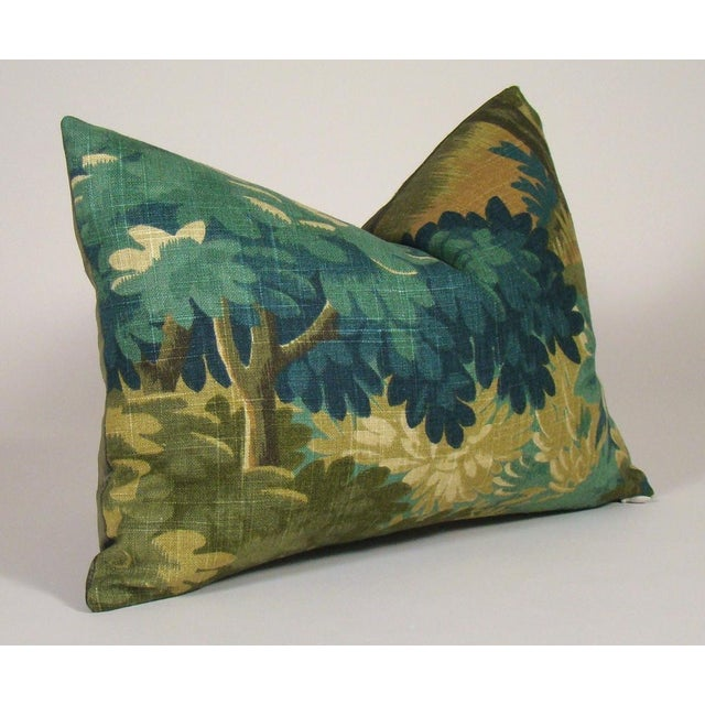 Lovely verdure forest print linen pillow cover in shades of gold, sage, olive, green and blue, backed in loden green...