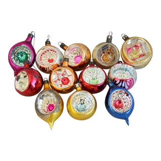 1950s Vintage Colorful Christmas Ornaments W/Box - Set of 12 For Sale