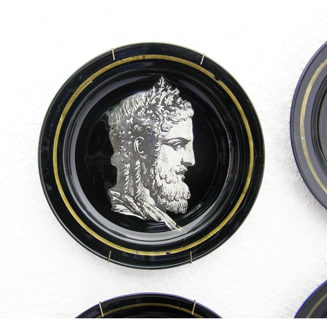 Fornasetti Style Neoclassical Black Glass Wall Plates - Set of 6 Mid-Century Modern MCM - Image 7 of 11