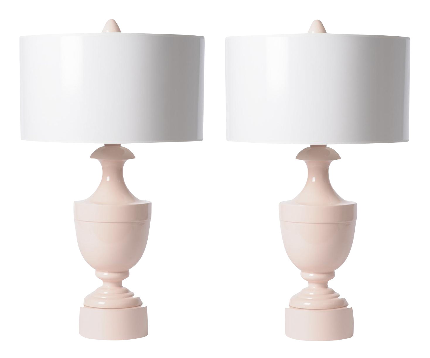 Pink Urn Table Lamps   A Pair