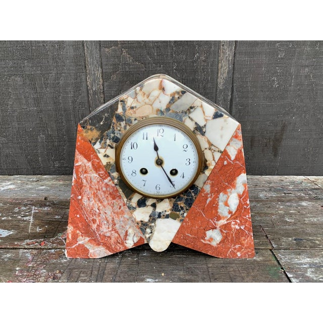 French Art Deco Marble Mantle Clock For Sale - Image 12 of 12