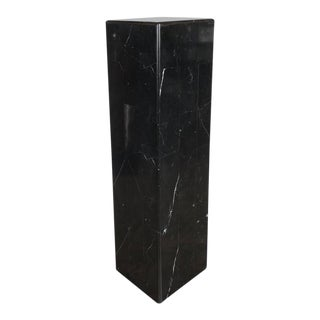 Sophisticated Tessellated Exotic Black Belgian Marble Pedestal For Sale