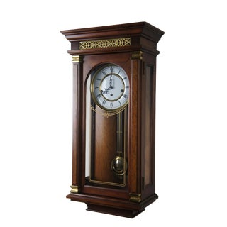 Sligh Neoclassical Vintage Burlwood Wall Clock Model For Sale