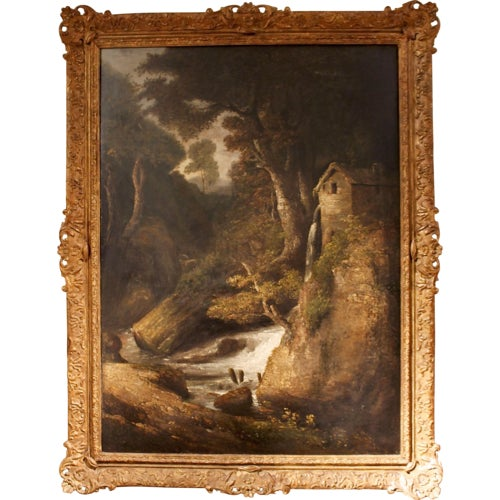 "19th Century ""Forest Mill"" Landscape Oil Painting on Canvas - Image 10 of 10"