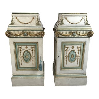 A Pair of 1920 English Neoclassical Style Painted Pedestals in the Manner of Robert Adam For Sale