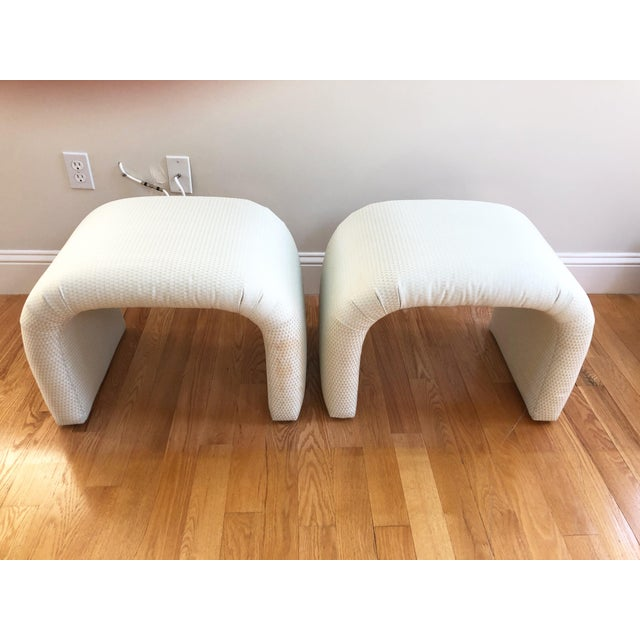 1970s Vintage Milo Baughman, Karl Springer Mid-Century Modern Waterfall Benches, a Pair For Sale - Image 5 of 8