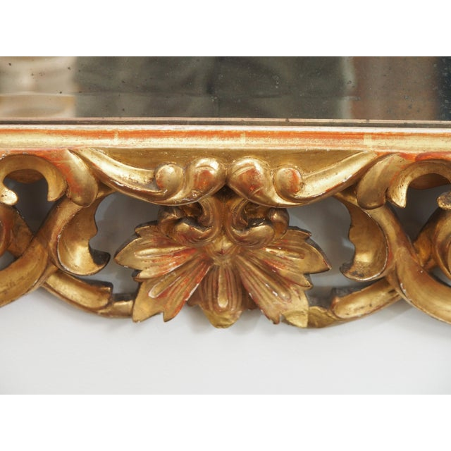 LARGE GILDED AND PIERCED CUSHION MIRROR For Sale In New Orleans - Image 6 of 8