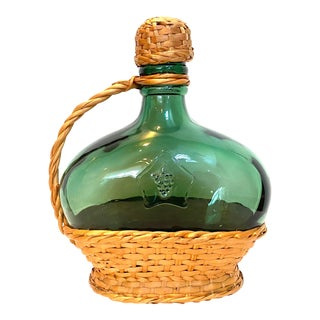 French Country Blown Glass Wicker Bottle For Sale