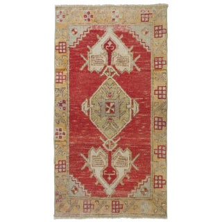 """Vintage Turkish Red Yellow Runner-1'10'x3'1"""" For Sale"""