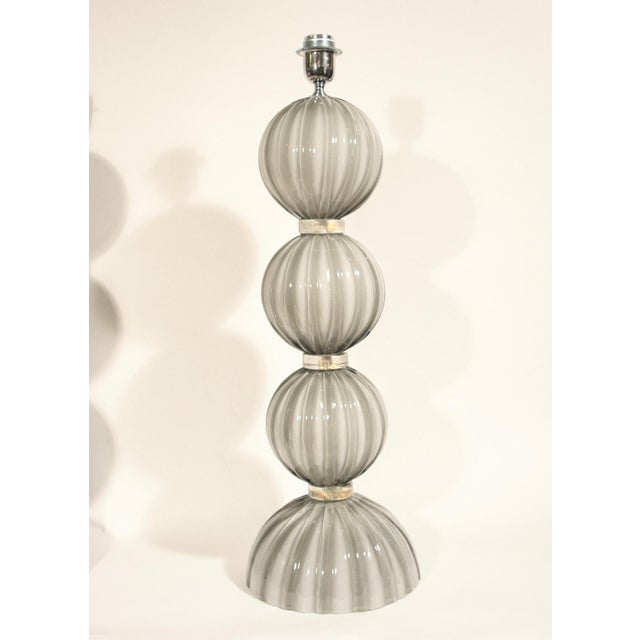 Italian Murano Blown Glass Table Lamps - a Pair For Sale - Image 3 of 4
