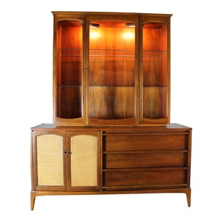 Lane Mid-Century Rhythm Lighted China Cabinet For Sale