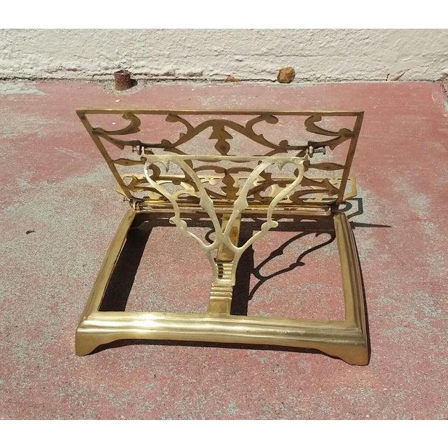 Mediterranean Vintage Brass Folding Book Holder For Sale - Image 3 of 5