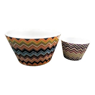 Missoni for Target 2 Piece Stoneware Chevron Salad Bowl Set For Sale
