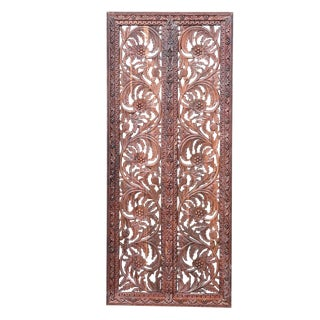 Anglo-Indian Floral Carved Door Panel For Sale