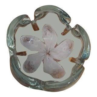 Murano Italy Venetian Flower Art Glass Bowl