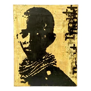 Vintage American Pop Art Young African Boy Signed Dj Ndebele For Sale
