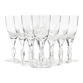 1960s Crystal Glass Wine Stems, Set of 11 For Sale